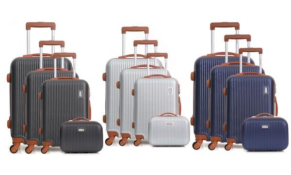 7bcb2e897b34c2 Set 3 valises et vanity case en ABS, 4 roues multidirectionnelles ...