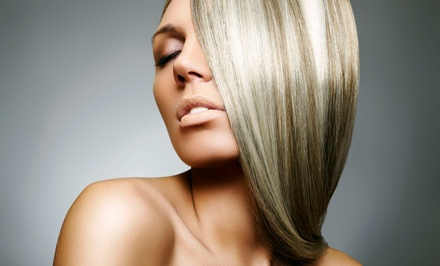Keratin Smoothing Treatment or Women's Haircut and Set of Partial Highlights at Vanité (Up to 64% Off)