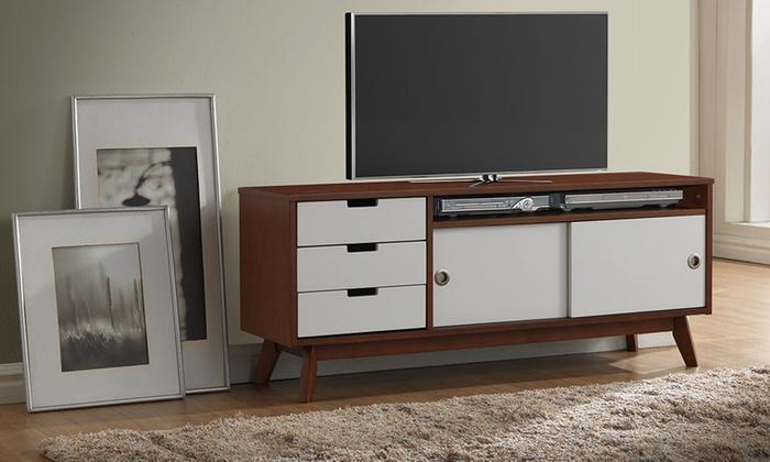 Two Tone Finish Wood Tv Cabinet Groupon Goods