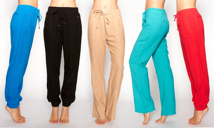 Women's Linen Drawstring Pants | Groupon Goods