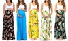 Women's Maternity Colorblock Ruched Maxi Dress