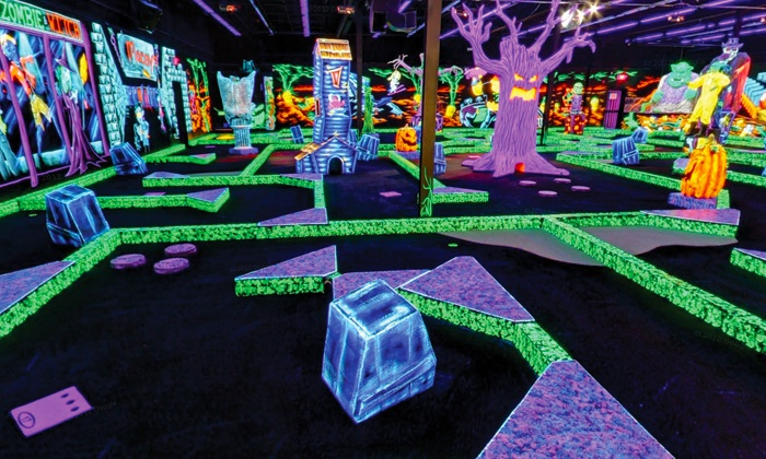 4 or 8 rounds of mini golf monster mini golf groupon for Indoor party places for kids