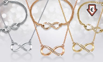 Infinitely Yoursketting en armband verguld met goud en versierd met Swarovskikristallen, inclusief verzending