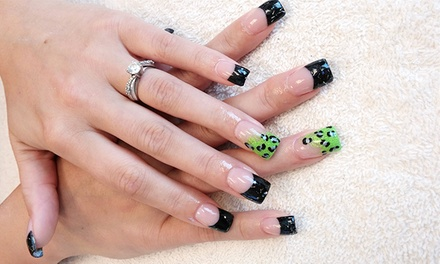 Gel Polish and Basic Pedicure, or Full Set of Acrylic Nails with Maintenance Fill at Just Nailz (Up to 49% Off)
