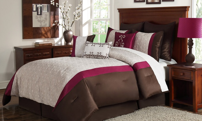 9-Piece Embroidered Comforter Sets: 9-Piece Embroidered Comforter Set in Queen or King