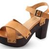 Celebrity NYC Rita Women's Cross-Strap Chunky Heel Sandal