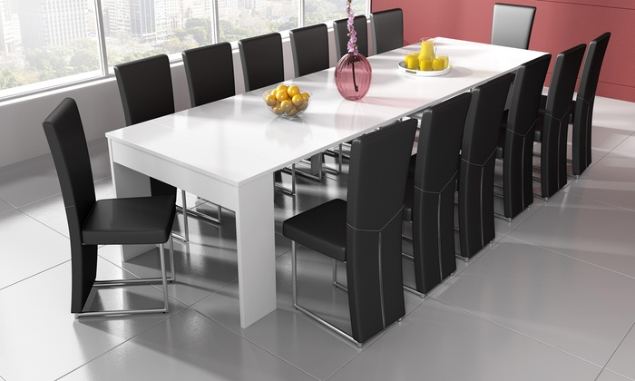 White Extending Table Console Groupon Goods
