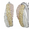 Crystal Twirl Hoop Earrings with Tri-Color 18K Gold Plating