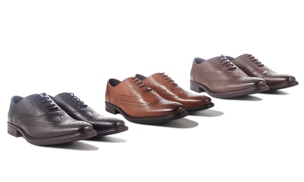 Men's Leather Brogues in Black, Tan or Brown for £24.98 (79% Off)