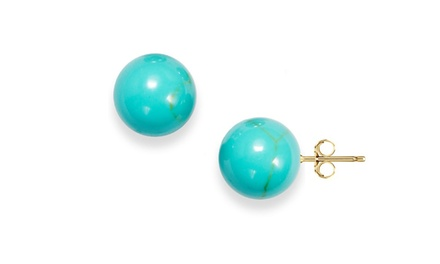 Genuine Turquoise Ball Stud Earrings in 14K Gold