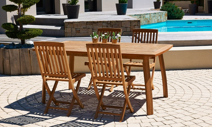 Salon de jardin en teck | Groupon Shopping