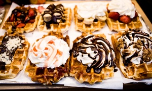 The Real Italian Ice Cream Company: Crêpe or Waffle with up to 3 Toppings, Sauce or Cream, and Drink for 2 or 4 at The Real Italian Ice Cream Co. (50% Off)