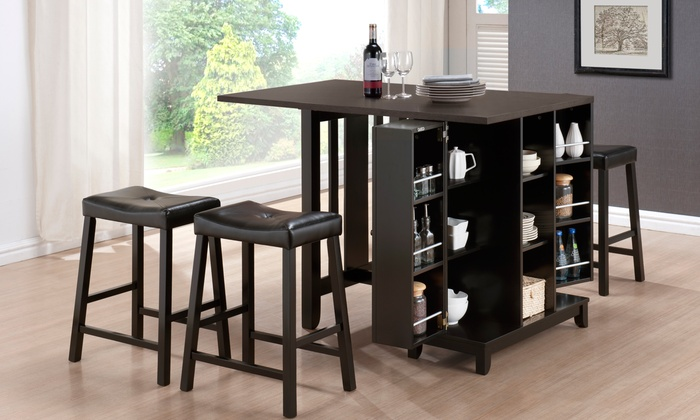 Delicieux Aurora Dark Brown Modern Pub Table Set With Cabinet Base (5 Piece) ...