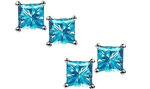 1 Or 2 Pairs Of 2.5 Cttw Princess-cut Genuine Blue Topaz Earrings In Sterling Silver From $7.99–$9.99