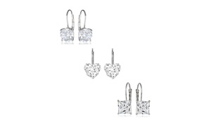 3-pair Set Of Swarovski Elements Leverback Earrings