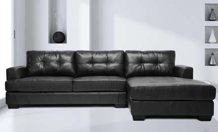 Bonded leather sectional sofa groupon goods for Sectional sofa groupon