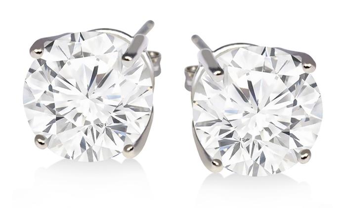 2 Carat White Topaz Stud Earrings