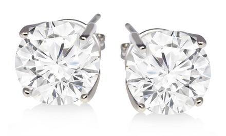 2-Carat White-Topaz Stud Earrings Set in Sterling Silver. Free Returns.