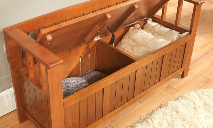 Simpli Home Acadian Collection Entryway Storage Bench