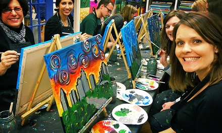 BYOB Painting Class for One or BYOB Mom and Me Painting Class for Two at Wine and Design (46% Off)
