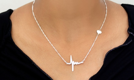 Gold- or Silver-Tone Heartbeat Necklace from Monogramhub.com (Up to 75% Off)