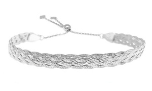 Italian Made Sterling Silver Braided Herringbone Bracelet by Verona