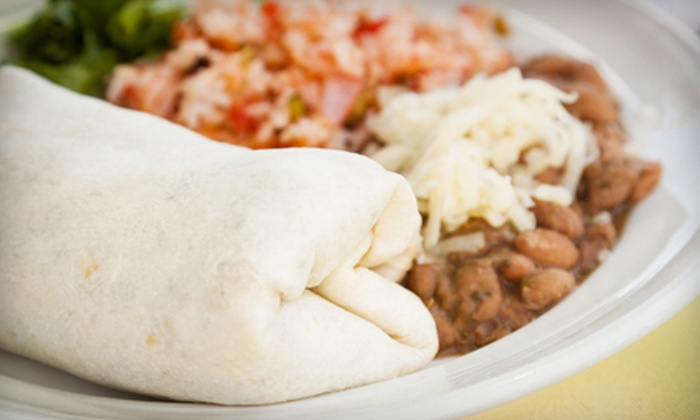Ganim's - Potrero: Two Curry Chicken or Veggie Burritos, or Case of Rolling Rock Beer at Ganim's (Up to 53% Off). Three Options Available.