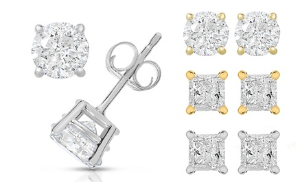 1.00 CTTW Certified Round or Princess-Cut Diamond Earrings in 14K White or Yellow Gold by Diamond Affection