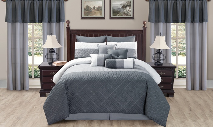 Quilted Room-in-a-Bag Comforter Set with Curtains (20-Piece) | Groupon