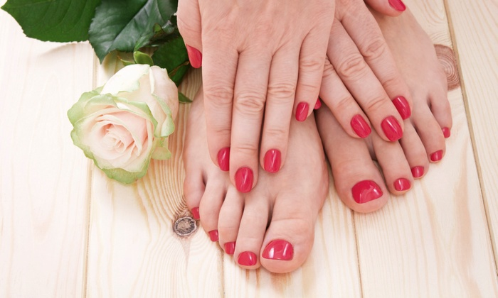 Altogether Lovelee at Salons by JC - Far West Side: Basic or Shellac Mani-Pedi with Hot Oil Massage from Altogether Lovelee at Salons by JC (Up to 51% Off)