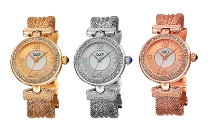 Burgi Women's Crystal Mesh Bracelet Watch