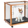 Solid Wood Mobile Pet Pen on Wheels with Mat
