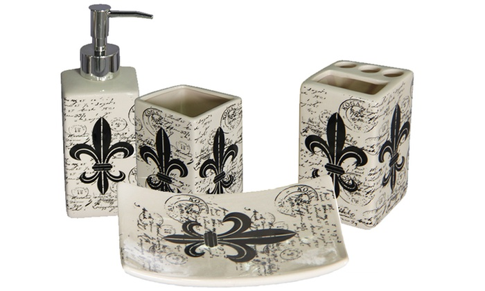 Https Www Groupon Com Deals Gg Fleur De Lis 4 Piece Ceramic Bath Accessories Set