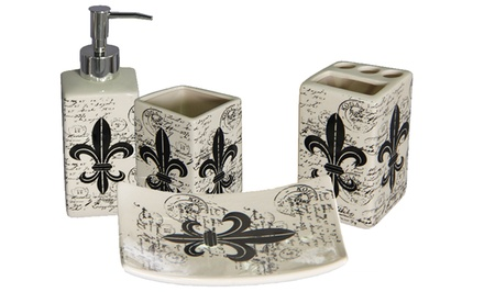 Fleur De Lis 4-Piece Ceramic Bath Accessories Set