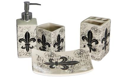 Fleur De Lis 4-Piece Ceramic Bath Accessories Set