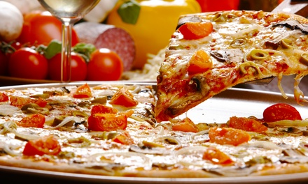 Large Thin-Crust Specialty Pizzas with Salads at Big Tomato Pizza (Up to 41% Off). Two Options Available.