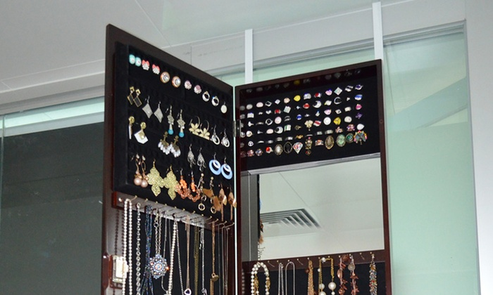 Freestanding Mirror And Jewelry Cabinet Groupon