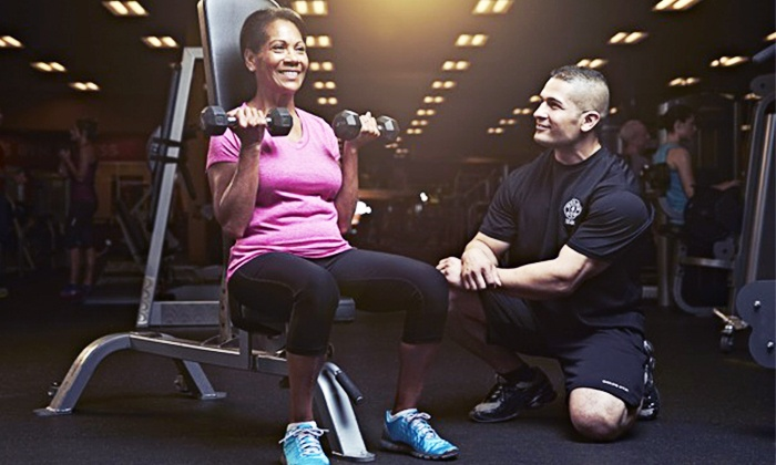 Gold's Gym - Westminster: One-Month Gym Membership with 2 One-Hour Personal-Training Sessions for for One or Two at Gold's Gym (91% Off)