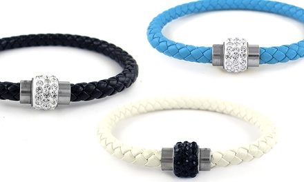 Genuine Leather Braided Bracelet with Swarovski Elements Crystals