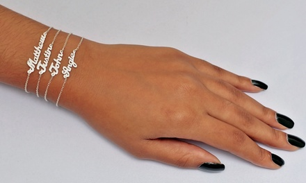 Custom Sterling Silver Mini Name Bracelet with 1, 2, or 3 Names from Monogramhub.com from $19–$41