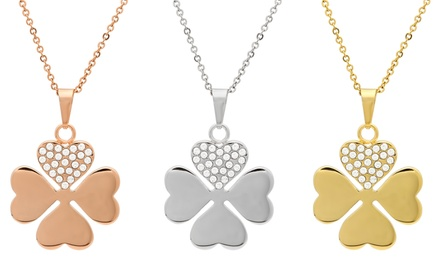 Clover and Crystal with Swarovski Elements Pendant Necklace