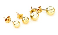 Gold Ball Stud Earrings in Choice of Size