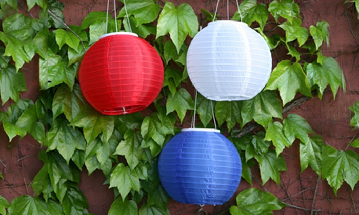 Red, White, and Blue Solar Lanterns: $24 for a Red, White, and Blue Solar LED Lantern Set. Shipping Included ($67.94 Total Value).