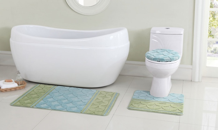 mosaic baby blue and sage 3 piece bath rug set - 3 Piece Bathroom Rug Sets
