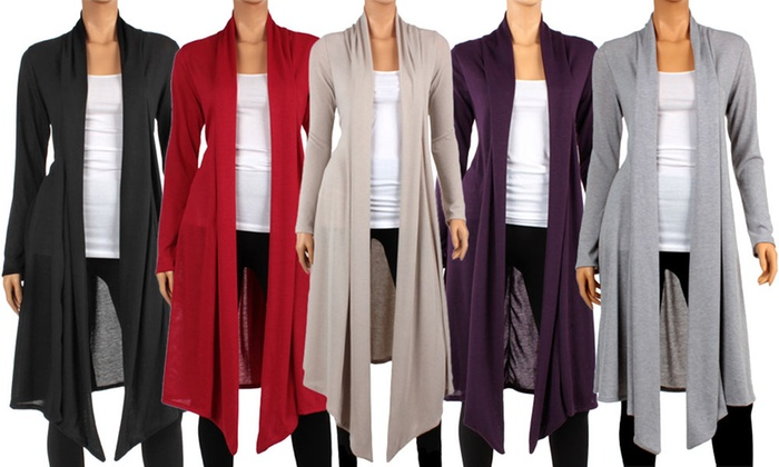 ca5301b2988 Women s Knee-Length Hacci Cardigan. Plus Sizes Available.