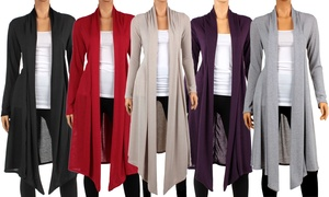 Women's Knee-Length Hacci Cardigan. Plus Sizes Available.