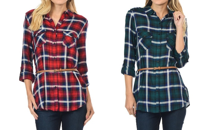Women's Plaid Button-Down Shirts with Belt (2-Pack)