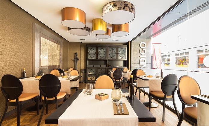 Menú para dos con entrantes, principal, postre y botella de vino o bebida desde 34,95 € en El Gato Canalla-Hotel Indigo