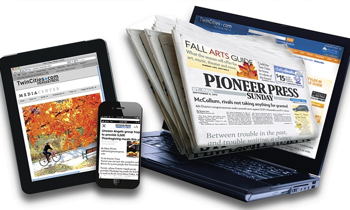 """St. Paul Pioneer Press: 52-Week Subscription to the Sunday Print or Seven-Day Digital Edition of """"St. Paul Pioneer Press"""" (Up to 81% Off)"""