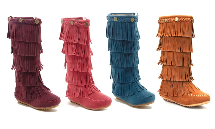 $75 Minnetonka Triple Layer Pink Fringe Moccasin Boots Toddlers US ...